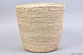 SEAGRASS STRAW NATURAL POT BASKET 32X32CM