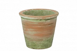 CONCRETE POT OLD GREEN/RED 16X14CM