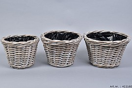 RATTAN POT ROUND GREY WHITEWASH 29X19CM 3-PIECES