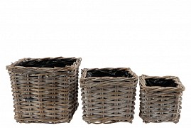 RATTAN POT SQUARE GREY WHITEWASH 25X25X20CM 3-PIECES