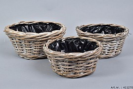 RATTAN BOWL BASKET D30XH14CM 3-PIECES