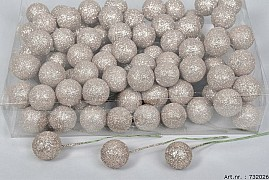 GLITTERBALL ON WIRE CHAMPAGNE 30MM SET OF 80