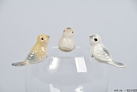 BIRD TOUSLED 6X2.5CM BROWN/CREAM ASSORTED A PIECE