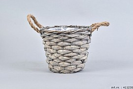 WOODWARD GREY POT BASKET 19X16CM