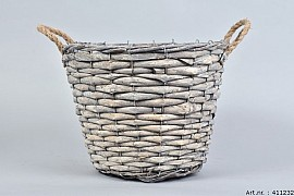WOODWARD GREY POT BASKET 30X24CM